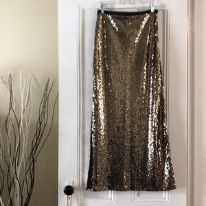 Gold and Black Sequin Maxi Skirt with Slit